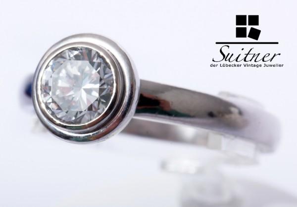 moderner Solitär Ring 750 Gold 1,00ct Wesselton / VVSI Gr 59 Weißgold Verlobung