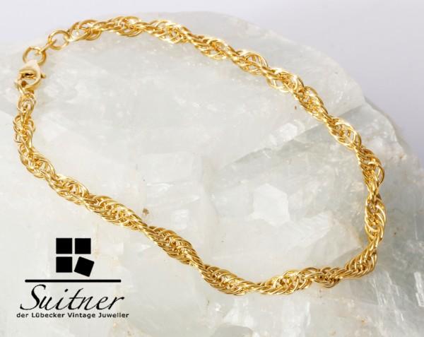 grobes Kordelarmband aus Gold 19 cm Ankerkette Ringdesign