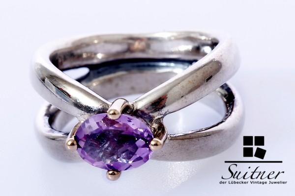 sehr schöner Pandora Ring 925 Silber und Gold mit Amethyst Gr. 53 Lila