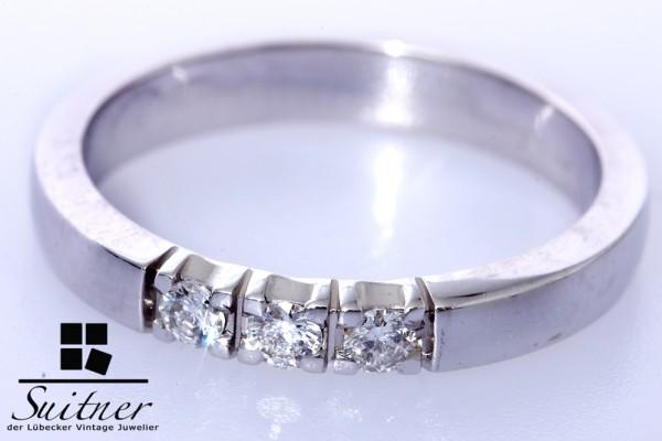 klassischer Bandring Brillant Ring zus. ca. 0,15 ct 585 Weißgold Gr. 55