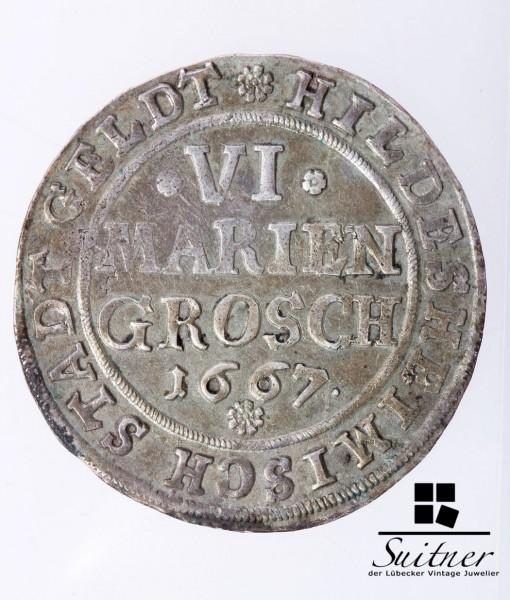 6 Mariengroschen 1667 Stadt Hildesheim fast VZ sehr selten Niedersachsen