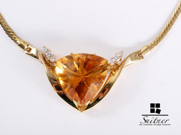 Modernes Citrin Brillant Collier 585 Gelbgold