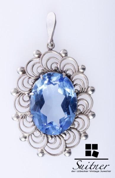 Schöner Jugendstil-Anhänger aus 835er Silber mit hellblauem Topas