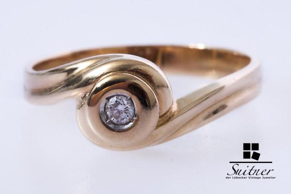 moderner Solitär Ring mit Brillant aus 585 Gold Gr. 58 rundes Design