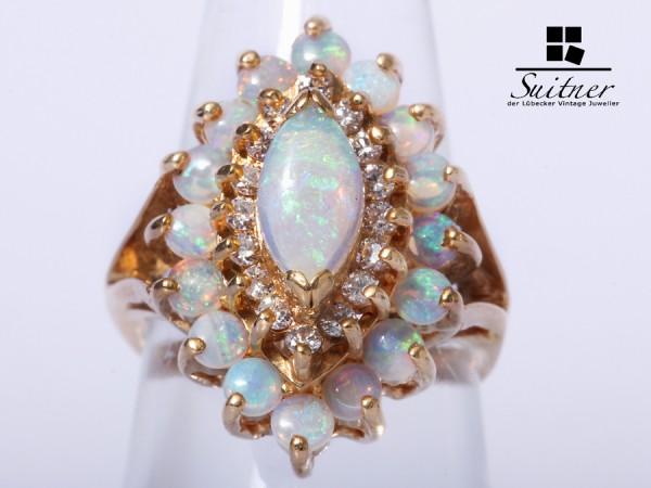 Opal Brillant Ring 585 Gelbgold Gr. 53