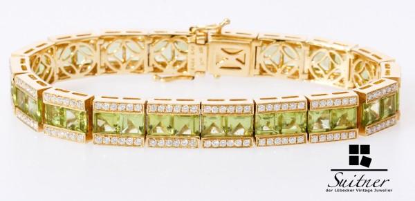 25,87ct. Tennisarmband 750 Gold mit Brillanten und Peridot - Juwelen Bracelet