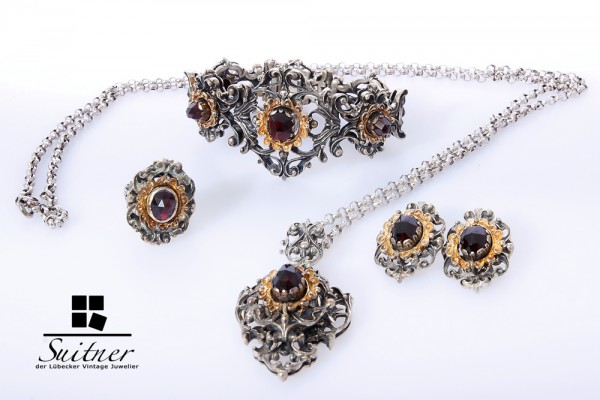 Granat Schmuck Parure Set antik Silber 835 Ring Ohrschmuck Armband Kette mit Uhr