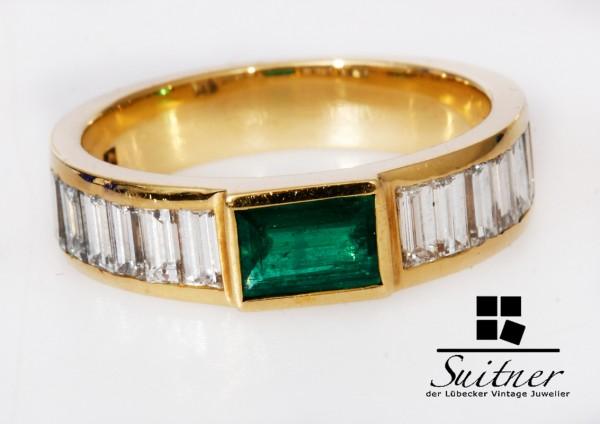 Bandring mit Smaragd und lupenreinen Diamanten Brillant Ring 750 Gold if TW