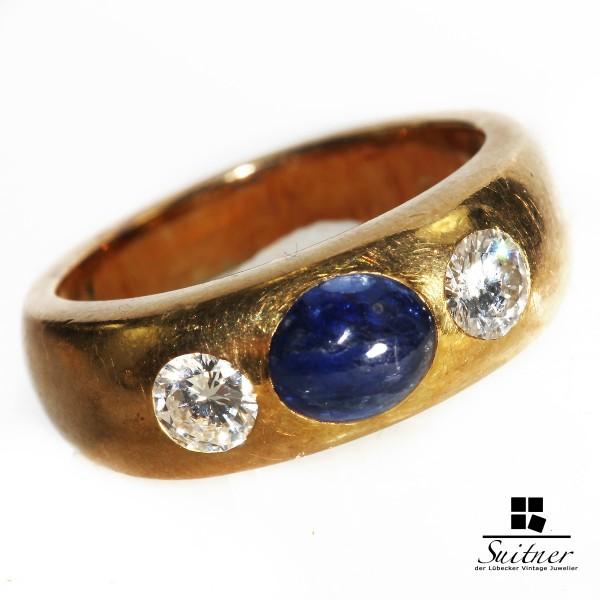 Luxus pur - 3 Stein Bandring Saphir und Brillanten in 750 Gold