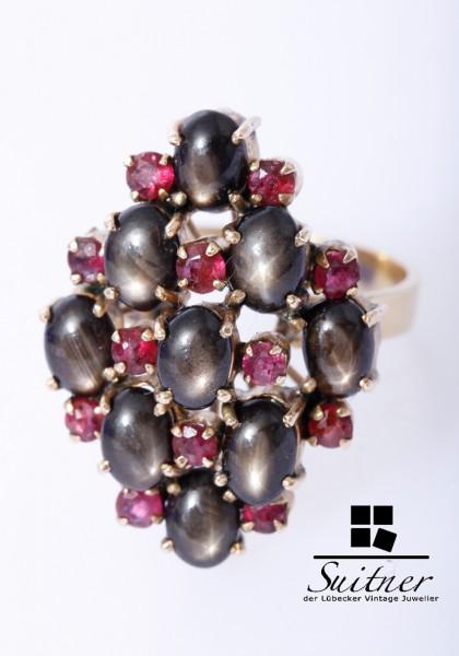 wertvoller Ring mit schwarzen Sternsaphire Rubinen 750 Gold Gr. 56 Stern