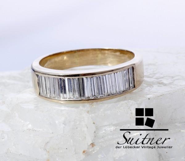 2,00ct. Memory Baquette Diamant Ring aus 750 Gold Gr. 61