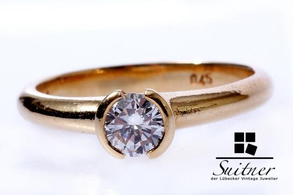 moderner Brillant Ring mit 0,45ct in 750 Gold Gr. 54 Top Wesselton Spannring