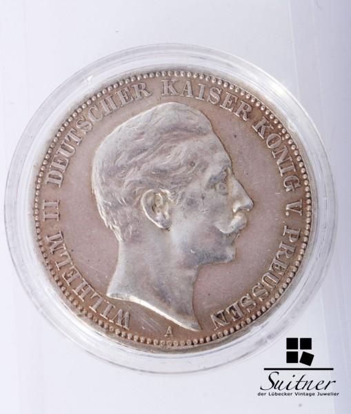 Preussen 3 Mark A 1909 VZ Münze Wilhelm II Deutscher Kaiser