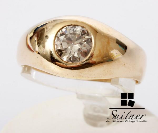 Bandring 0.90ct. Brillant Solitär Ring 585 Gold 57,5 Herren großer Diamant