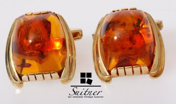 Art Deco Bernstein Manschettenknöpfe 585 Gold Amber Herrenschmuck