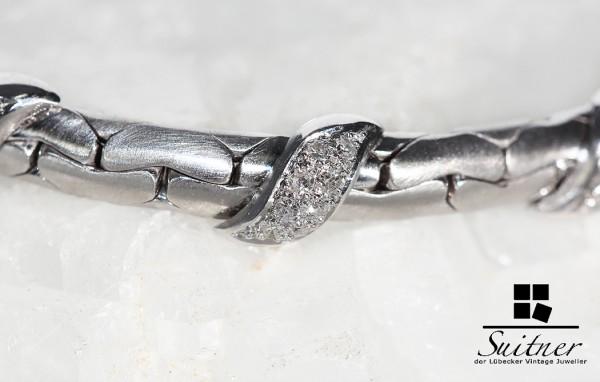 modernes Armband 750 Weißgold mit Diamanten sportlich elegant mattiert