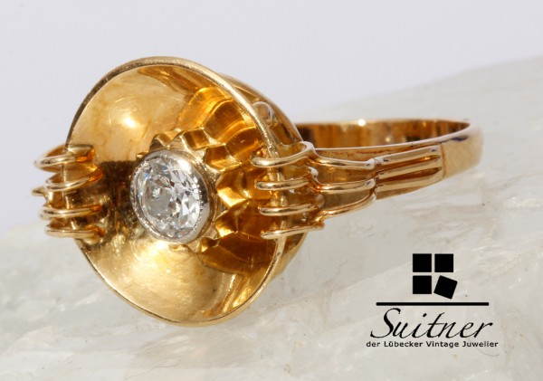 Art Deco Ring 0,35ct. Altschliff Diamant 750 Gold Gr. 56 Handarbeit