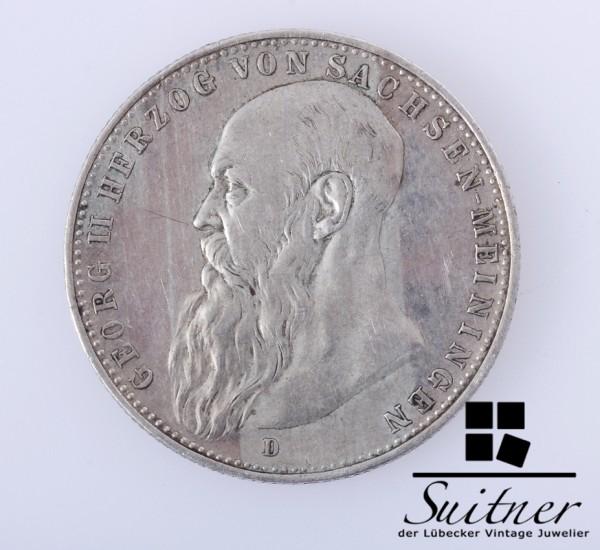 2 Mark Sachsen - Meiningen Georg II Herzog 1902 A SS-VZ selten