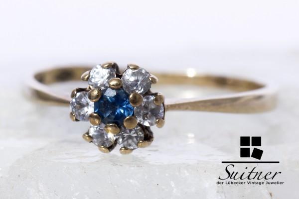 Saphir und Diamant Ring mit Zirkonia aus Gold Gr 54 Klassiker