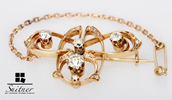 Antike Jugendstil Brosche über 1,00 ct Diamanten Art Nouveau 750 Gold
