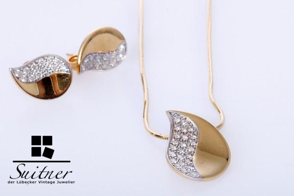 hochwertiges Schmuck Set Collier Ohrstecker 0,60ct. Brillanten 750 Gold