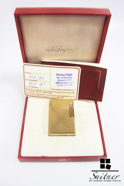 S.T. Dupont Feuerzeug Linie 1 groß im Etui / Zertifikat top mit Refill Full Set
