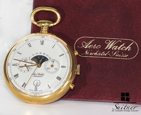 Taschenuhr Aero Watch Complication mit Mondphase und Stoppuhr