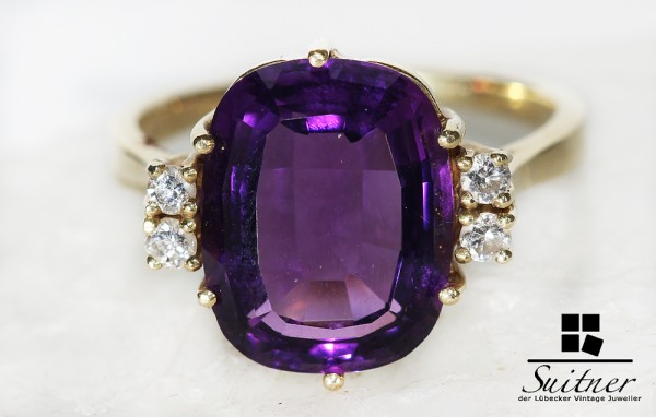 eleganter Amethyst Ring mit Diamanten aus 585 Gold tolle Farbe XL