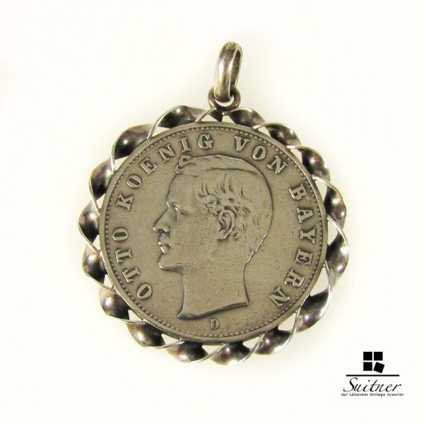 Münzanhänger aus Silber mit 2 Mark Otto von Bayern 1907 D