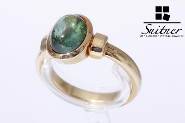 grüner Turmalin Ring Verdelith ca. 3,5 ct. 750 Gold Gr. 58