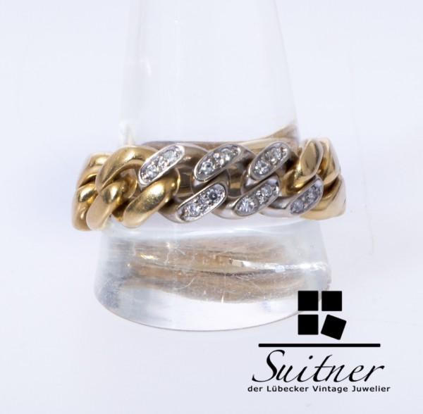 Pomellato seltener Kettenring Brillant Ring 750 Weißgold Gold Gelbgold Gr. 64