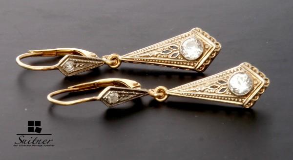 Jugendstil Ohrhänger 585 Gold mit Diamant und Steinbesatz