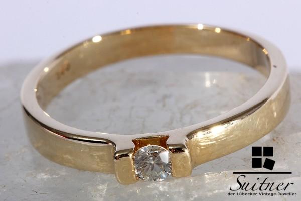Brillant Ring ca. 0,15 ct 585 Gelbgold Gr. 61