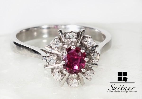 feiner Rubinring mit Diamanten aus 585 Weißgold Art Deco Entourage Ring
