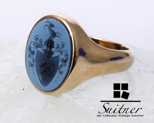 dem Adel verpflichtet - Siegelring Lagenstein 585 Gold Gr. 53 Wappen Meister Handwerk