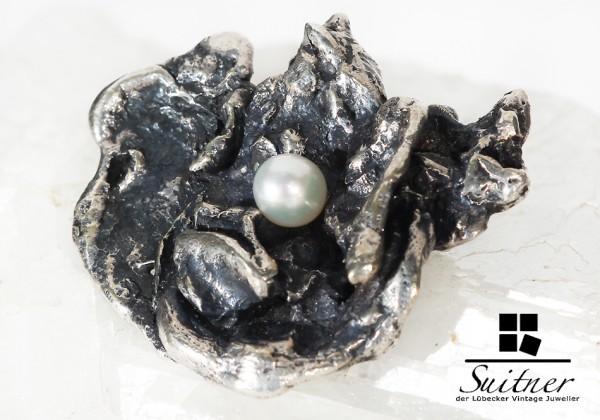 Brosche aus Silber mit Perlen, Dänemark Design Denmark Modernist ART