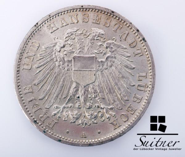 3 Mark Lübeck 1913 Prägestätte A Stempelglanz - prächtiges Stück selten