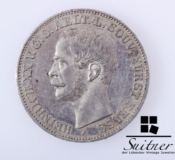 Heinrich Fürst Reuss 1858 A SS / VZ Vereinsthaler Pfund fein Thaler SELTEN