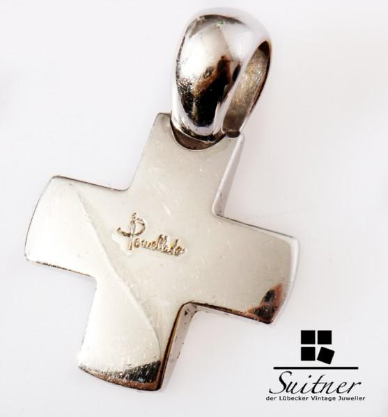 Pomellato Kreuz Anhänger 750 Weißgold Croce Collana Gold 18k selten