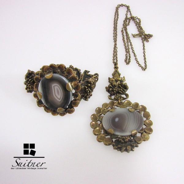 P. Sarpaneva Finnland Bronze Collier Armband Achat Renmoos selten RAR
