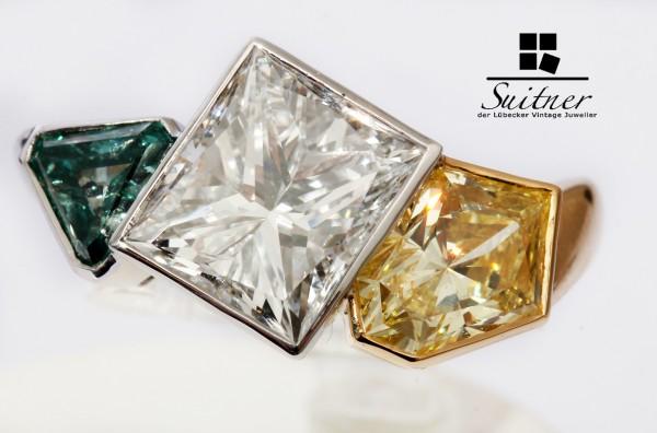 4,29ct. Fancy Diamond Ring mit 3 River Blue, Yellow, Blauen Diamanten DPL
