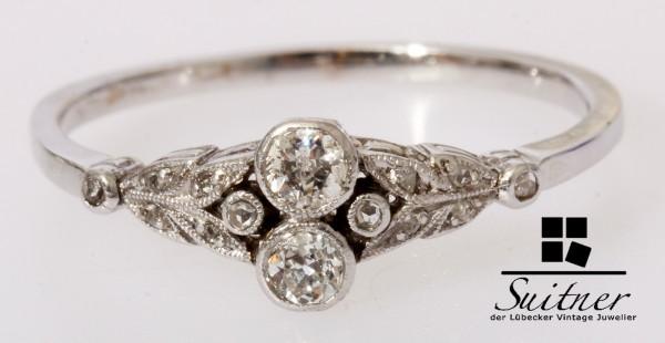 Jugendstil Ring Altschliff Diamanten 585 Weißgold Gr. 59 um 1910