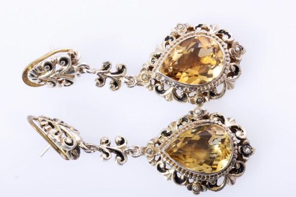 traumhafte XXL Antikstil Citrin Ohrringe 925 Silber - absolute Kracher