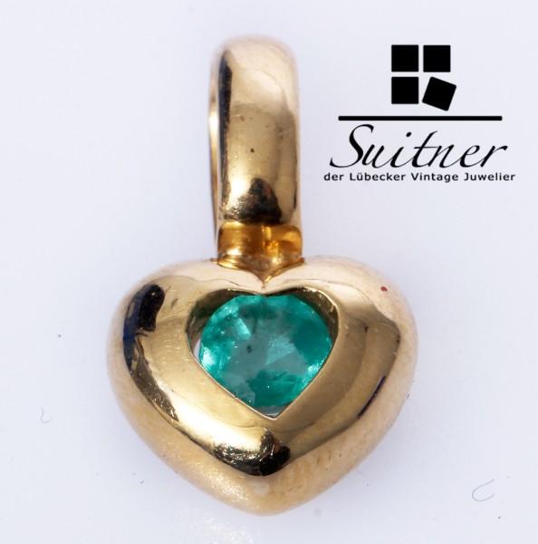 wertvoller Smaragd Herz Anhänger aus 750 Gold Grün Emerald