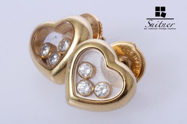 Chopard Happy Diamonds Ohrringe Brillant 0,39 ct 750 Gold mit Papieren