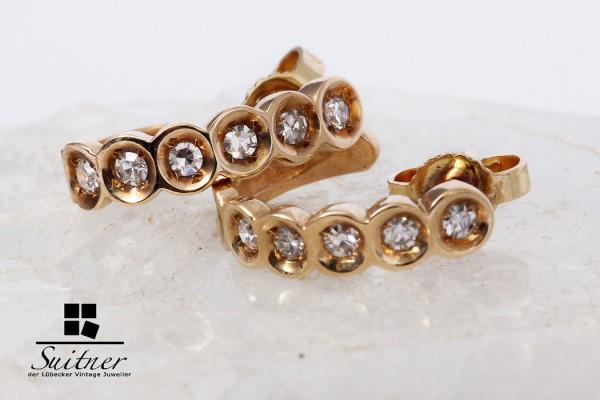halb Creolen / Stecker mit Diamanten in 585er Gold gefertigt