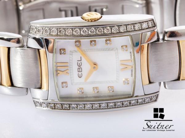 Ebel Brasilia Uhr mit Brillanten Gehäuse und Zifferblatt MOP Perlmutt mit Papieren Gold