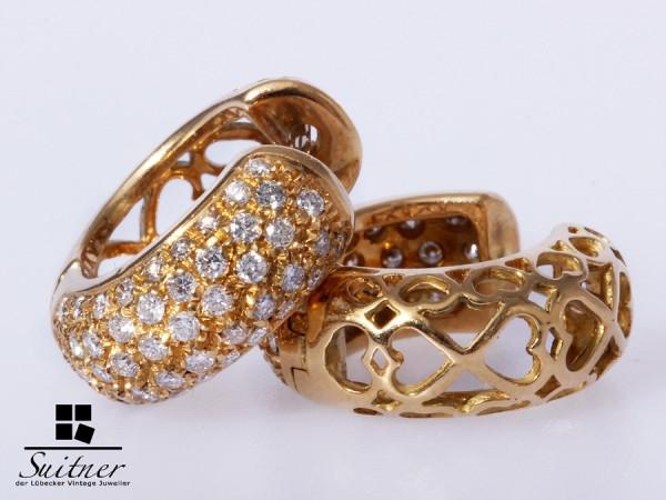 prachtvolle Brillant Creolen zus. ca. 1,00 ct aus 750 Gold - Herzen