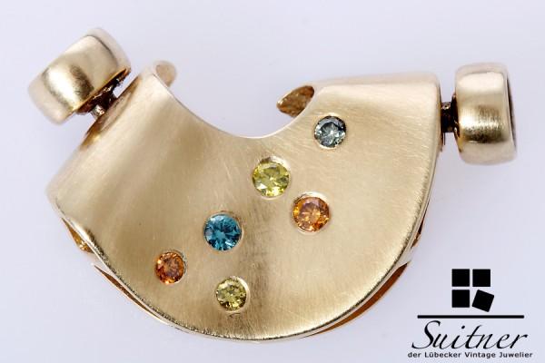 585 Gold Verschluss mit Brillanten Farbdiamanten Kettenverschluss Blau Orange Gelb