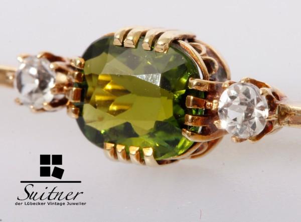 Art Deco Brosche mit Peridot und Diamanten 585 Gold Stab